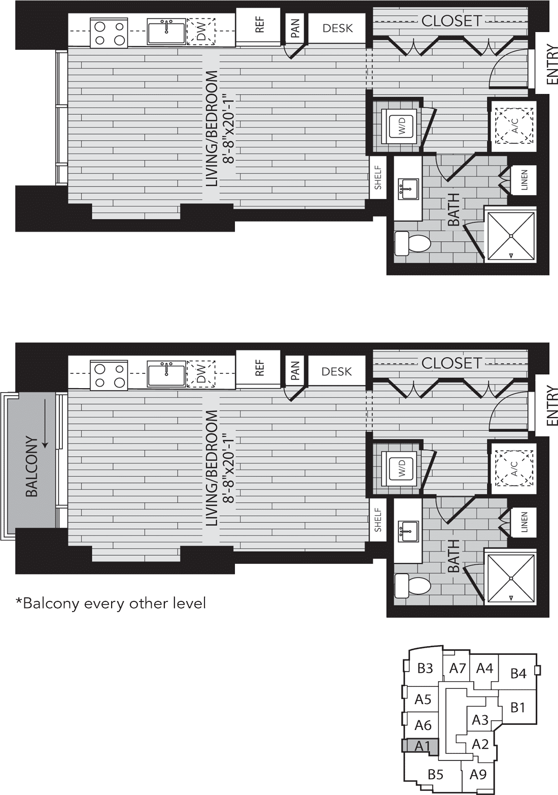 A1 Houston One Bedroom Apartment Floor Plan
