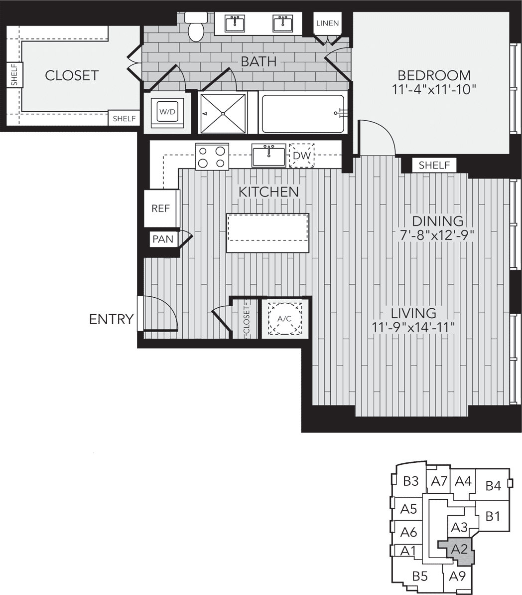 A2 Houston One Bedroom Apartment Floor Plan
