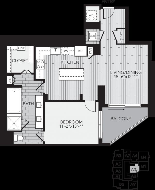 A3 Houston One Bedroom Apartment Floor Plan