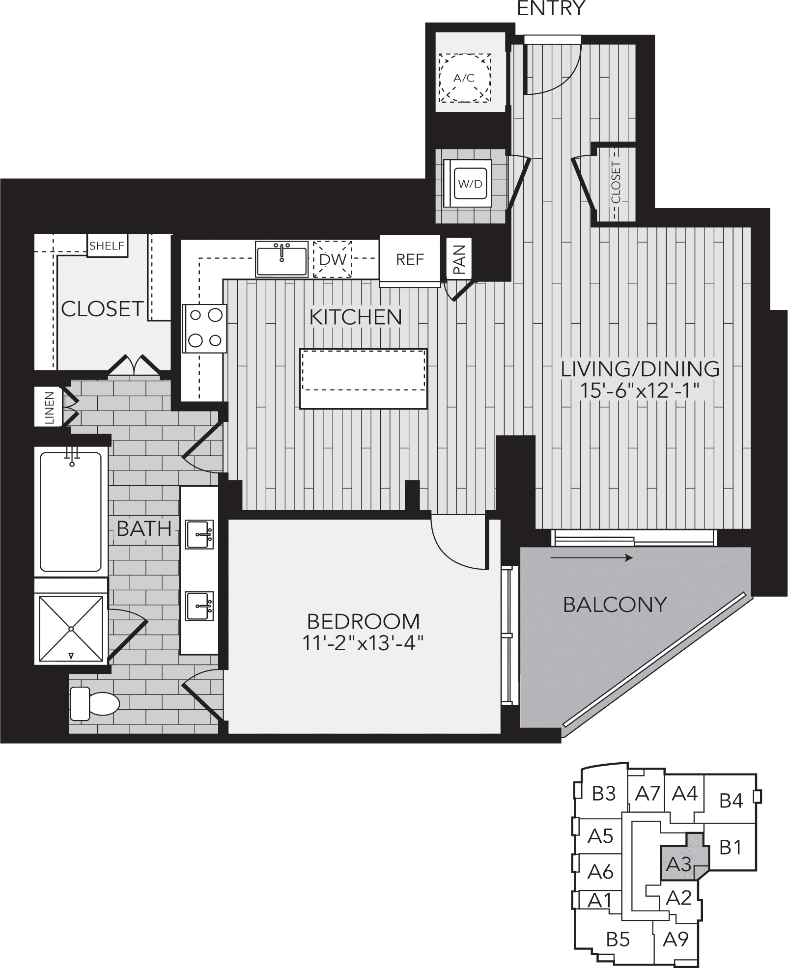 A3 Houston One Bedroom Apartment Floor Plan