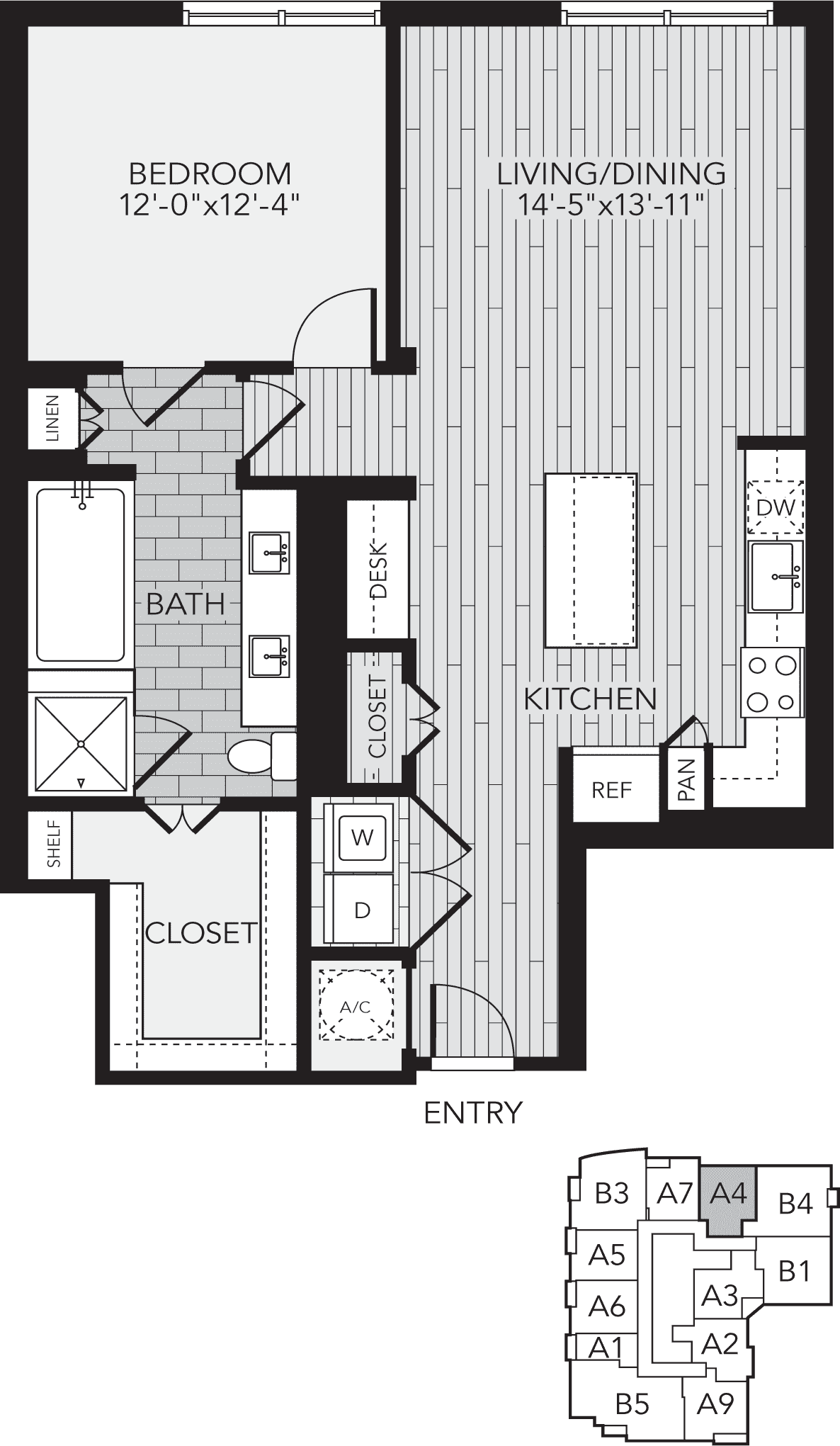 A4 Houston One Bedroom Apartment Floor Plan