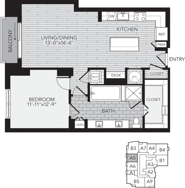 A5 Houston One Bedroom Apartment Floor Plan