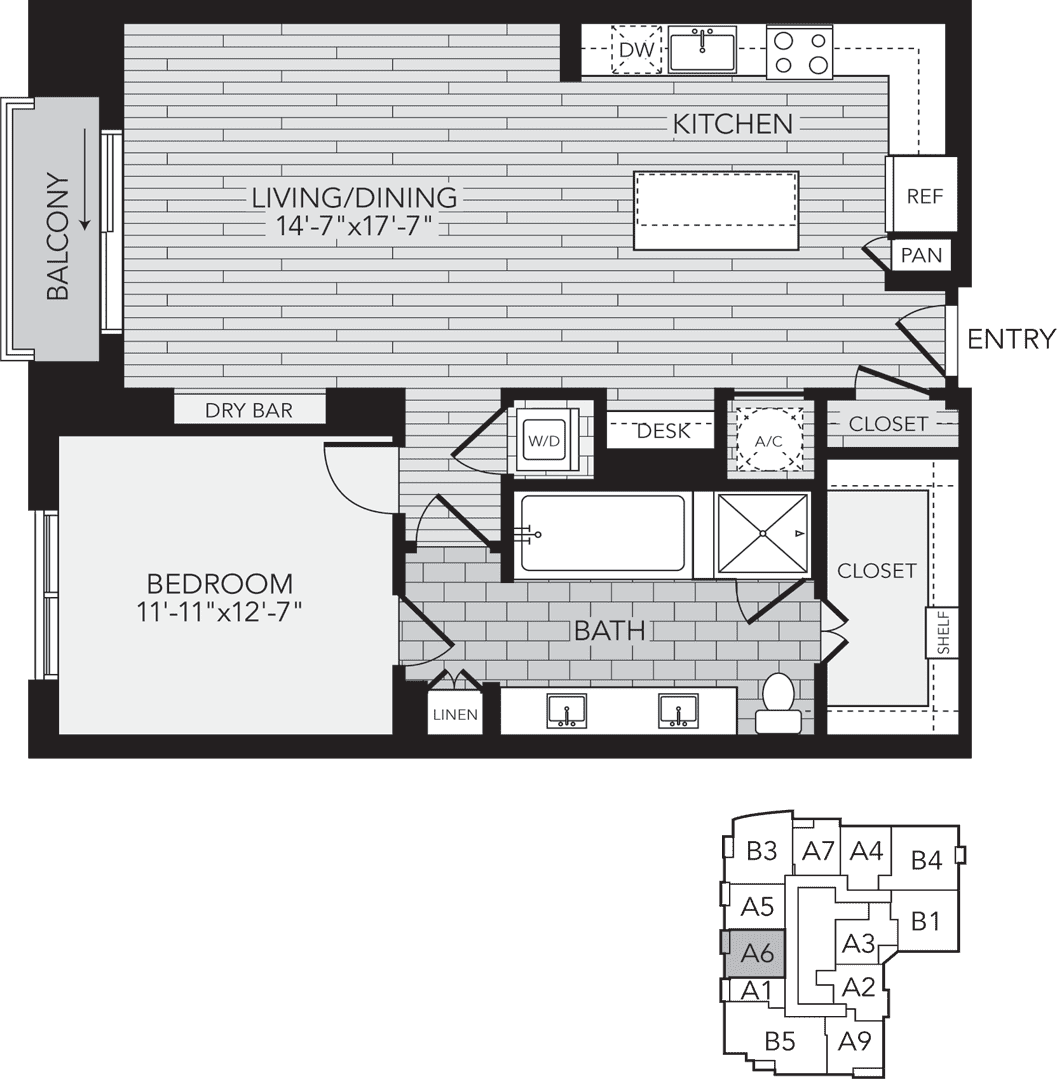 A6 Houston One Bedroom Apartment Floor Plan
