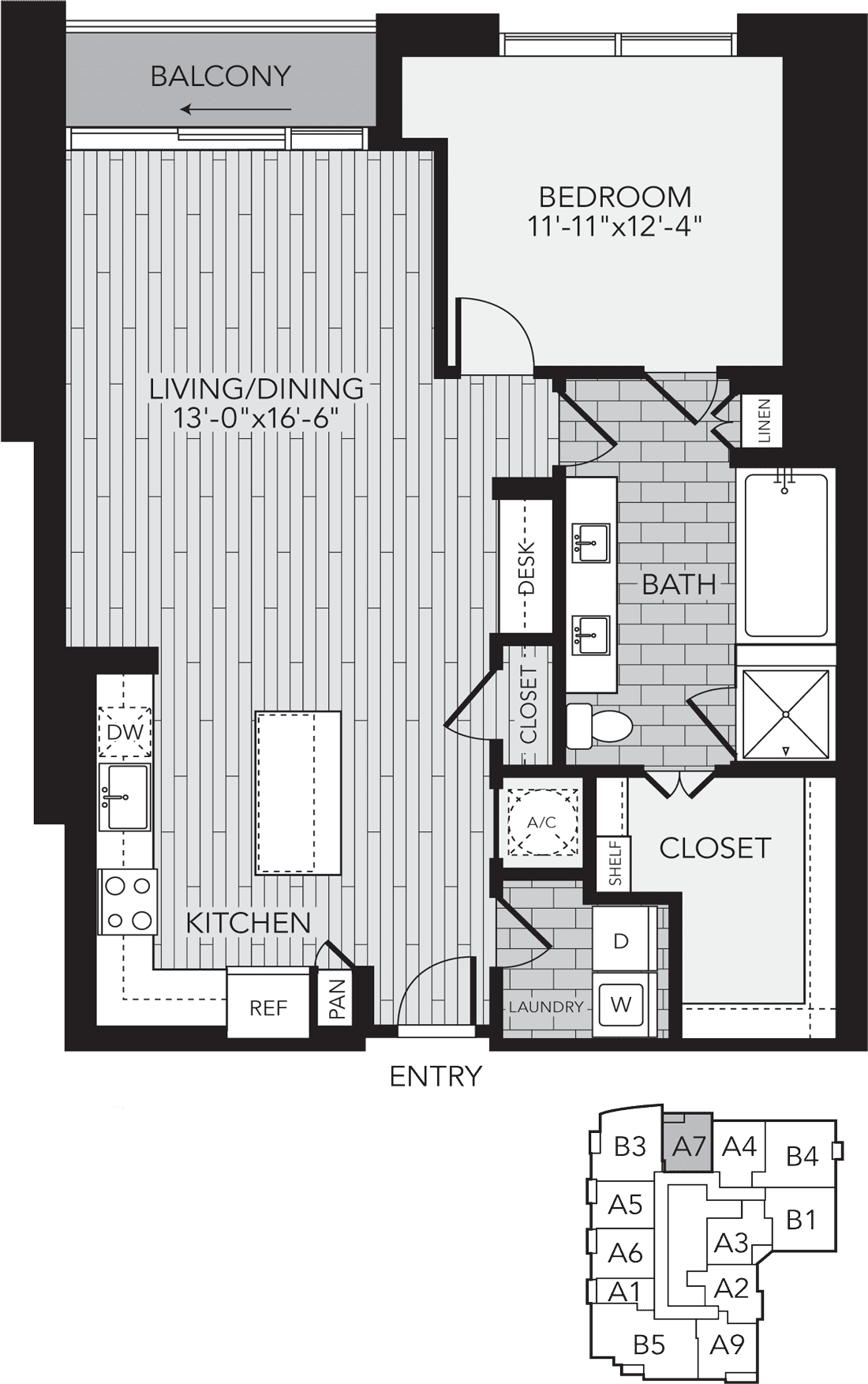 A7 Houston One Bedroom Apartment Floor Plan - Aris Market Square