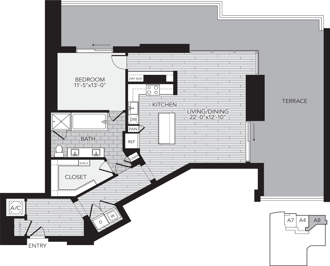 A8 Houston One Bedroom Apartment Floor Plan