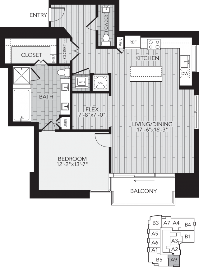 A9 Houston One Bedroom Apartment Floor Plan
