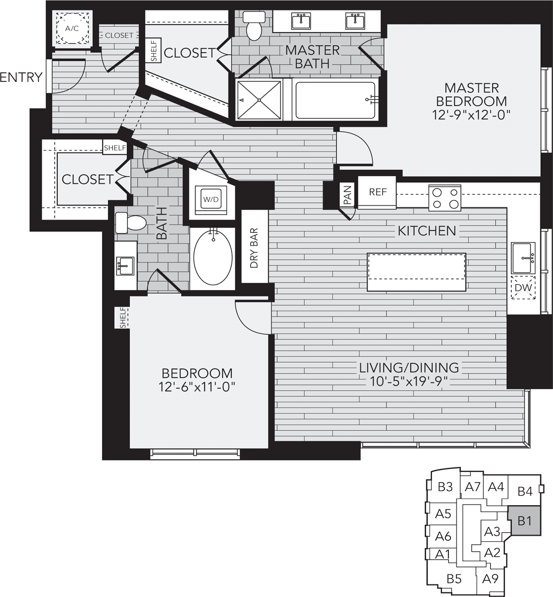 B1 Houston Two Bedroom Apartment Floor Plan