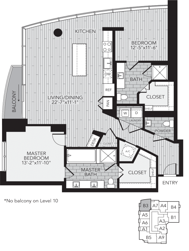 B3 Houston Two Bedroom Apartment Floor Plan