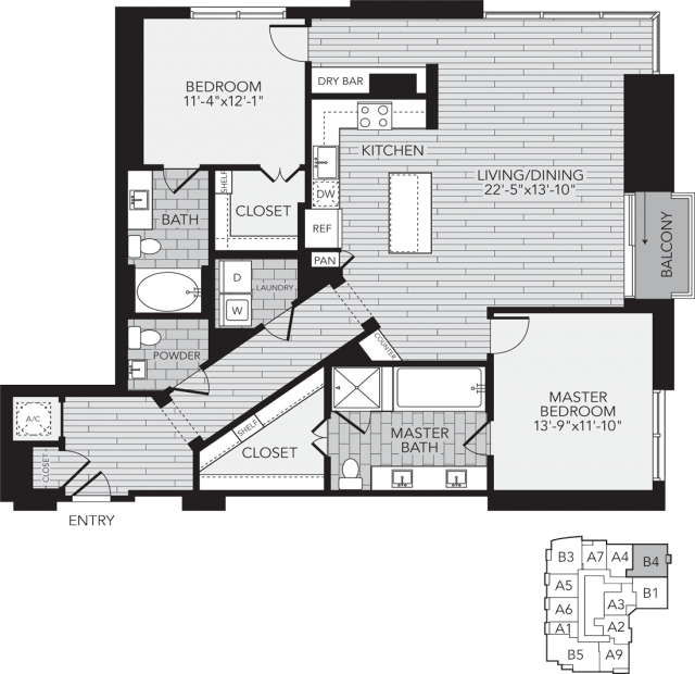 B4 Houston Two Bedroom Apartment Floor Plan