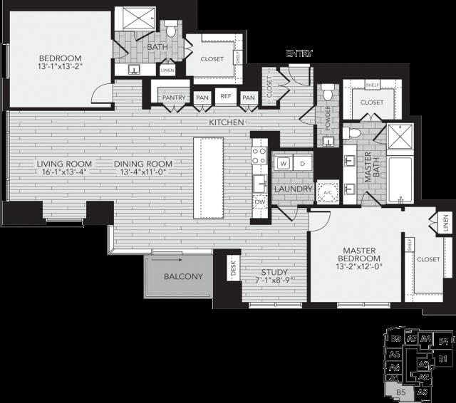B5 Houston Two Bedroom Apartment Floor Plan