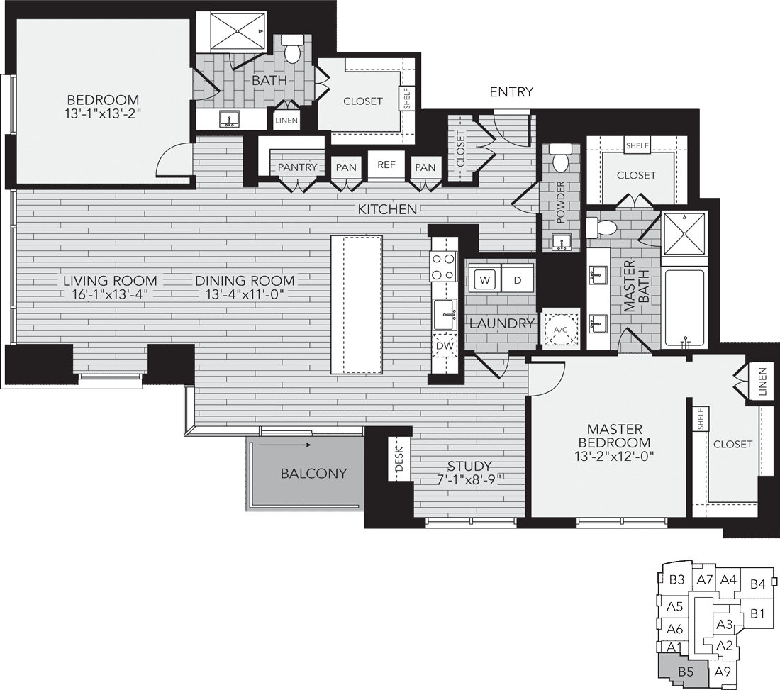 B5 Houston Two Bedroom Apartment Floor Plan
