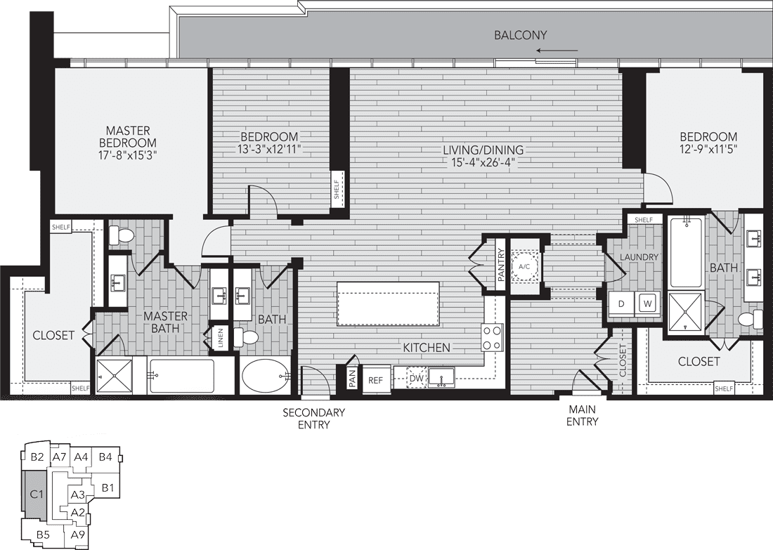 C1 Houston Three Bedroom Apartment Floor Plan